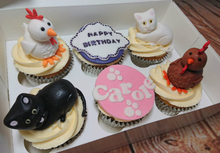 Cats & Hen theme cupcakes - Tamworth