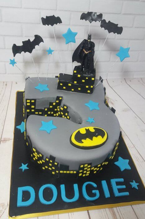3 shaped batman theme children's birthday cake - Tamworth