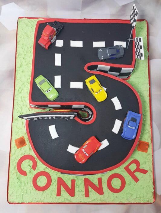 5 shape racetrack cars children's birthday cake - tamworth