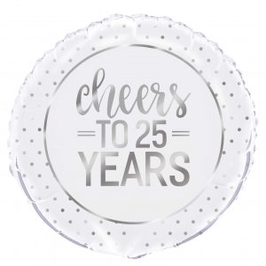 cheers to 25 years silver anniversary helium balloon - tamworth birmingham