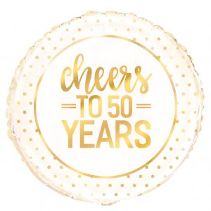 Cheers to 50 years golden anniversary helium balloon - tamworth birmingham