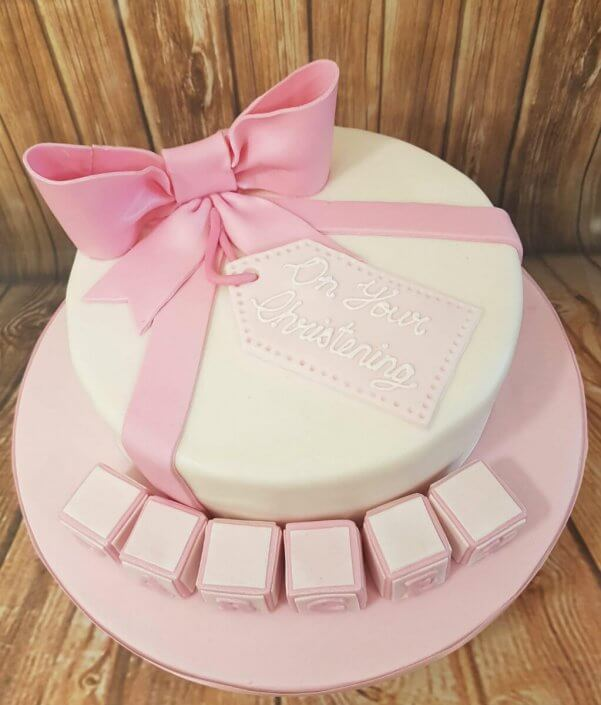 Christening cake present and blocks cake - Tamworth