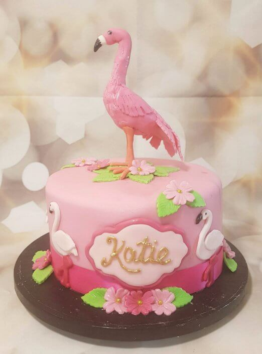 Pink flamingo theme birthday cake - Quality Cake Company Tamworth