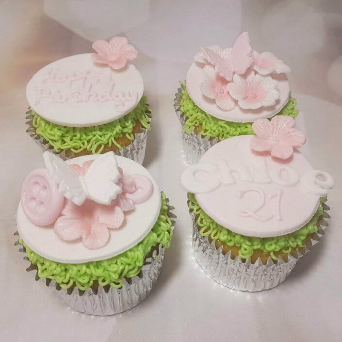 Button and butterfly pastel pink cupcakes - Quality Cake Company Tamworth