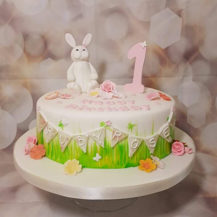 Bunny rabbit children's 1st birthday cake - tamworth