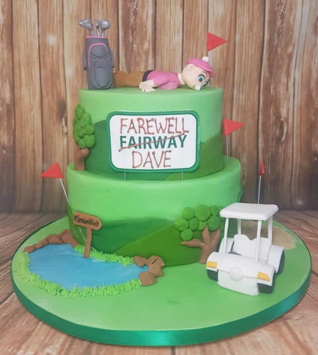 Two tier Golf themed retirement cake - Quality Cake Company Tamworth