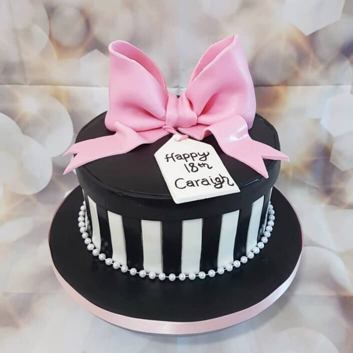 Black & white hat box with giant pink bow birthday cake - tamworth