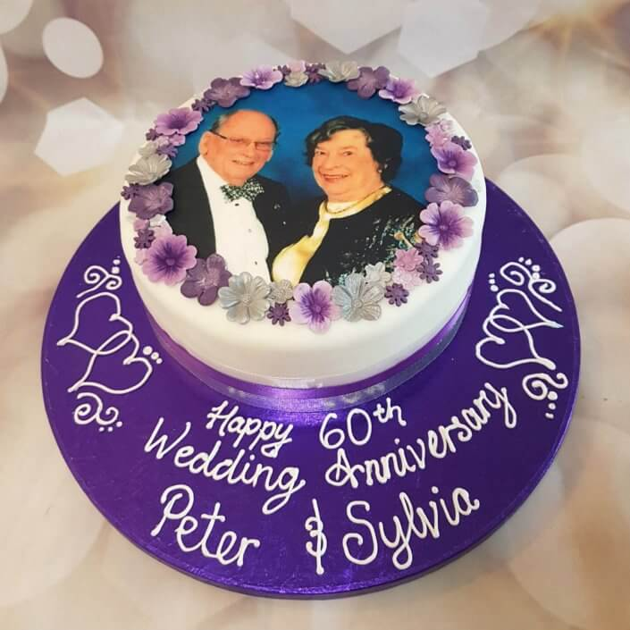 Diamond 60th anniversary photo cake - Quality Cake Company Tamworth