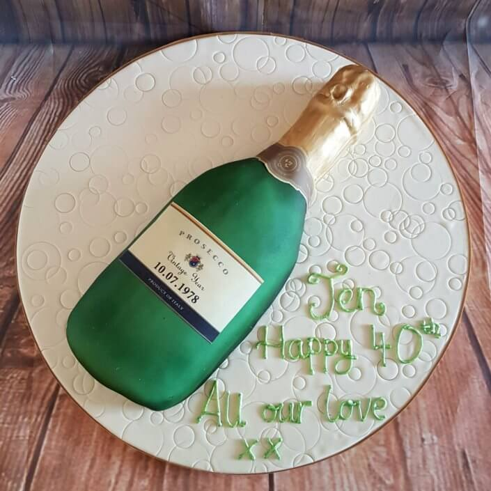 Green prosecco bottle novelty birthday cake Quality Cake Company Tamworth
