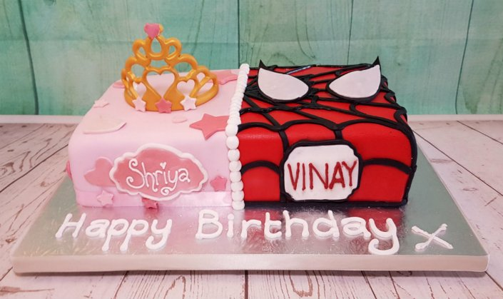Twin / joint birthday cake - princess & spiderman - Tamworth