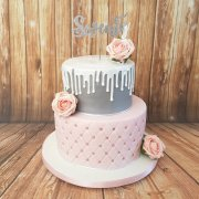 Two tier pink quilted and silver drip birthday cake - quality Cake Company Tamworth