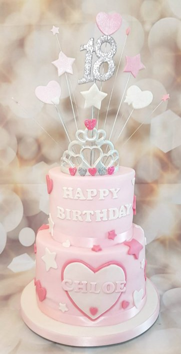 Two tier pink birthday cake with silver tiara - Quality Cake Company Tamworth