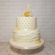 Two-tier ivory quilted and ruffle anniversary celebration cake - Quality Cake Company Tamworth