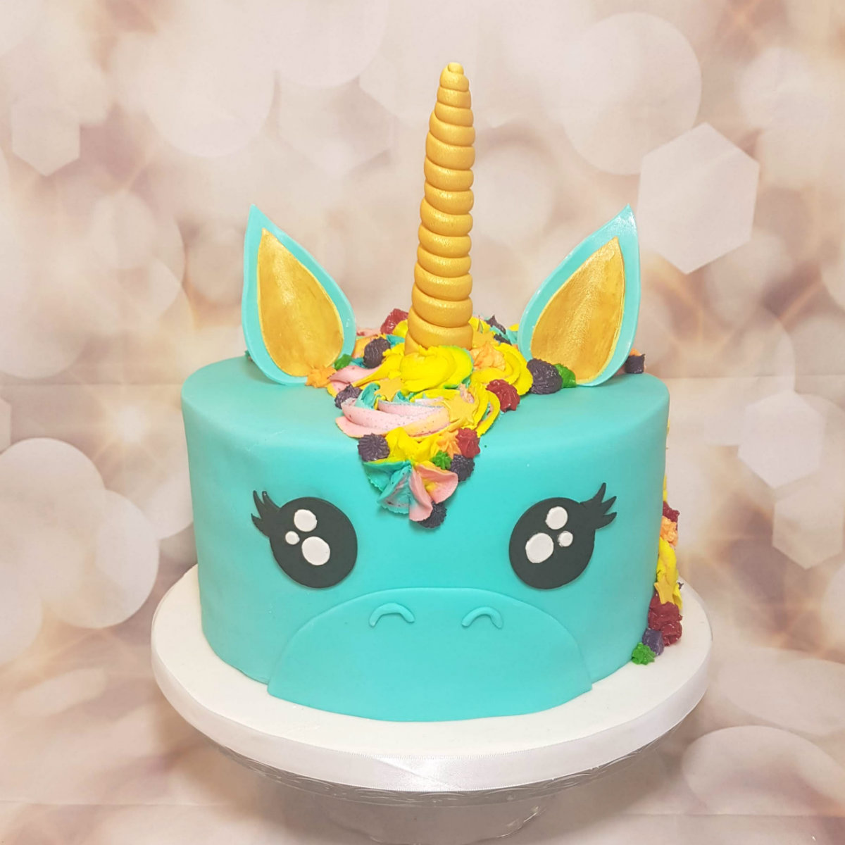 Tiffany blue unicorn head cake - Quality Cake Company Tamworth
