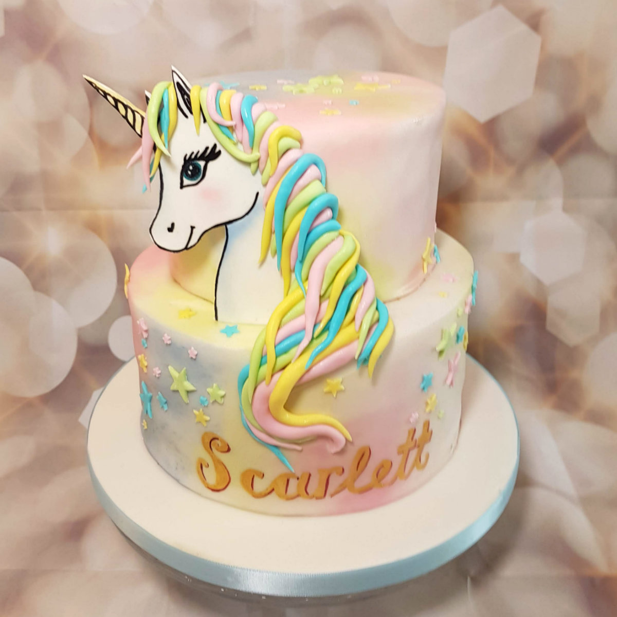 Pastel two tier unicorn cake - Quality Cake Company Tamworth