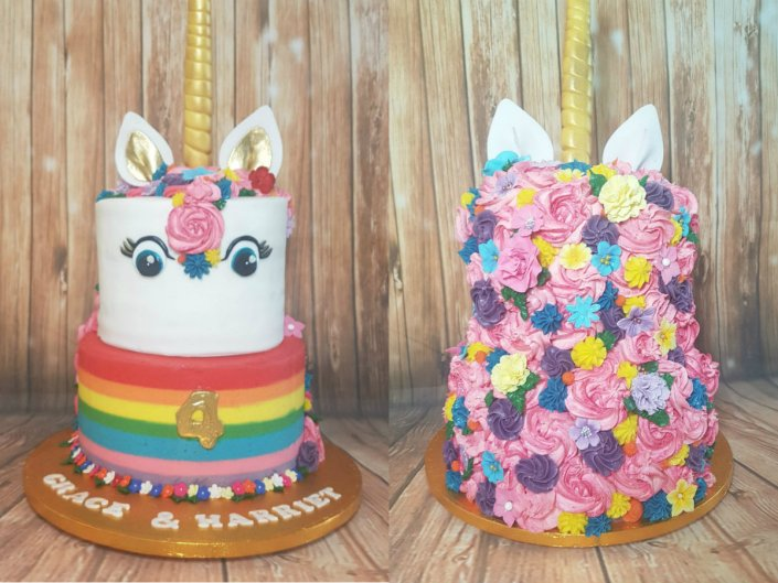 Double height rainbow unicorn cake - Quality Cake Company Tamworth