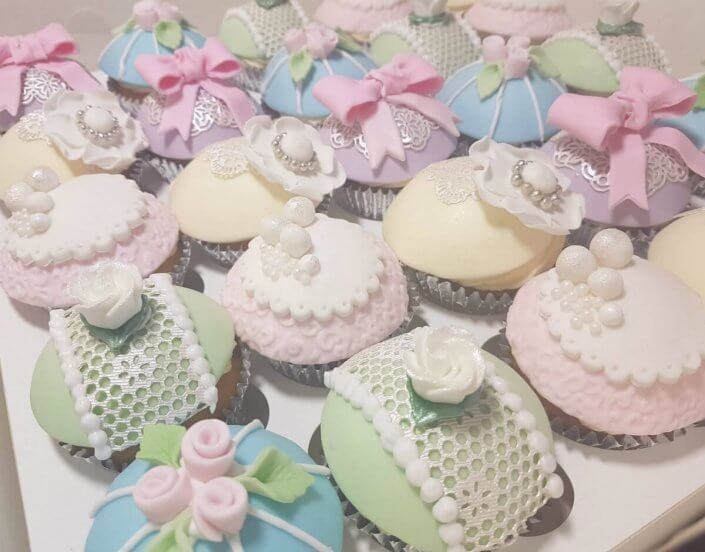Vintage style pastel lace cupcakes - Tamworth