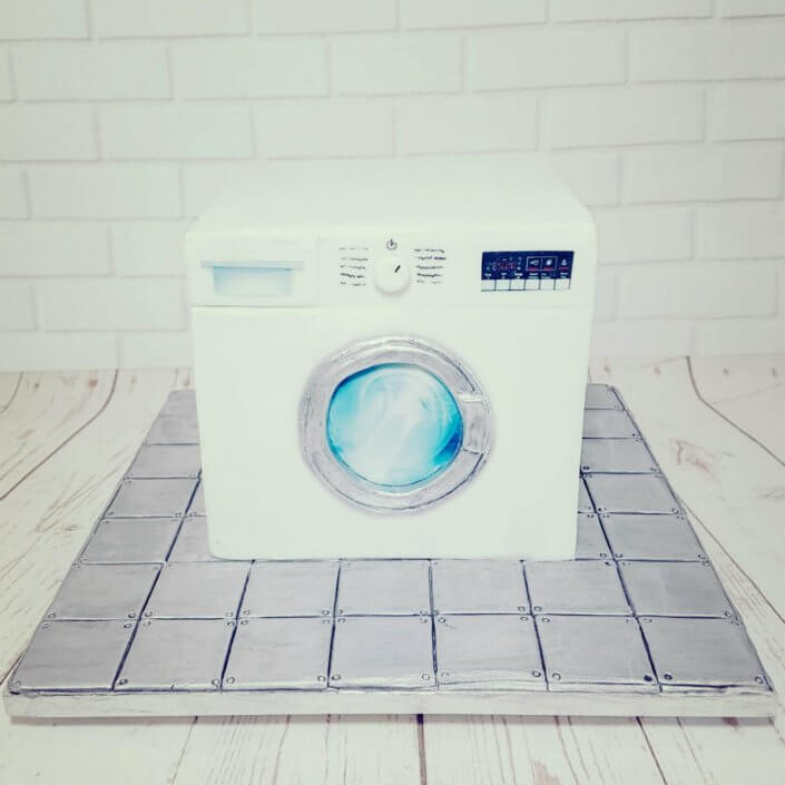 Washing machine sculpted novelty cake - Quality Cake Company Tamworth