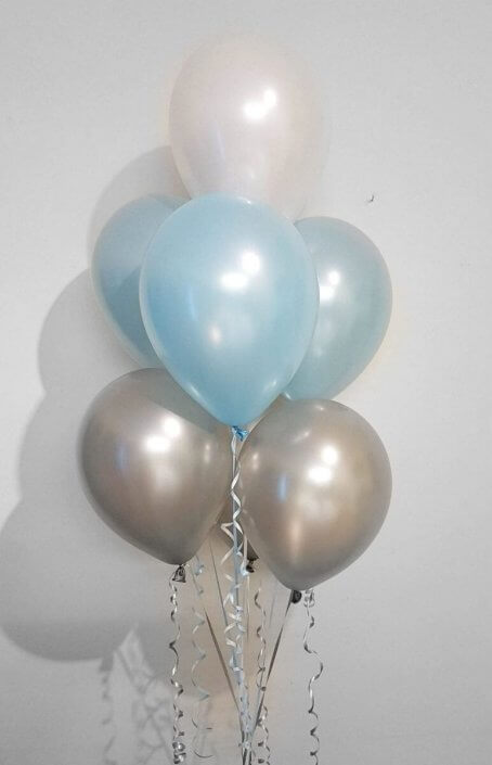 silver blue white bunch of 7 table spray balloons - tamworth birmingham
