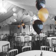 balloon table decoration centrepiece black & gold - tamworth bimingham