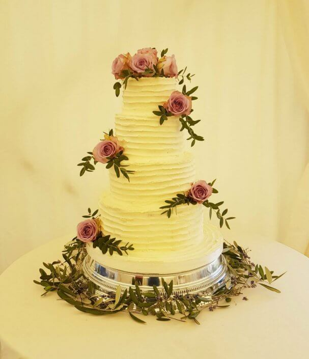 Four tier semi nake wedding cake - Quality Cake Company Tamworth Birmingham