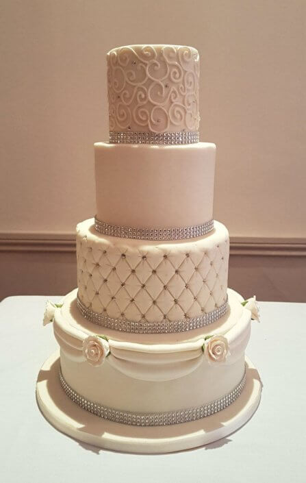 Four tier simple white wedding cake bling - Quality Cake Company Tamworth Birmingham