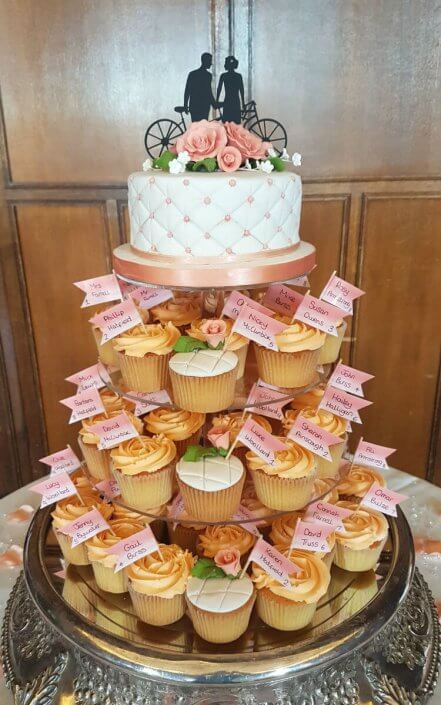 Peach wedding cupcakes - Quality Cake Company Tamworth