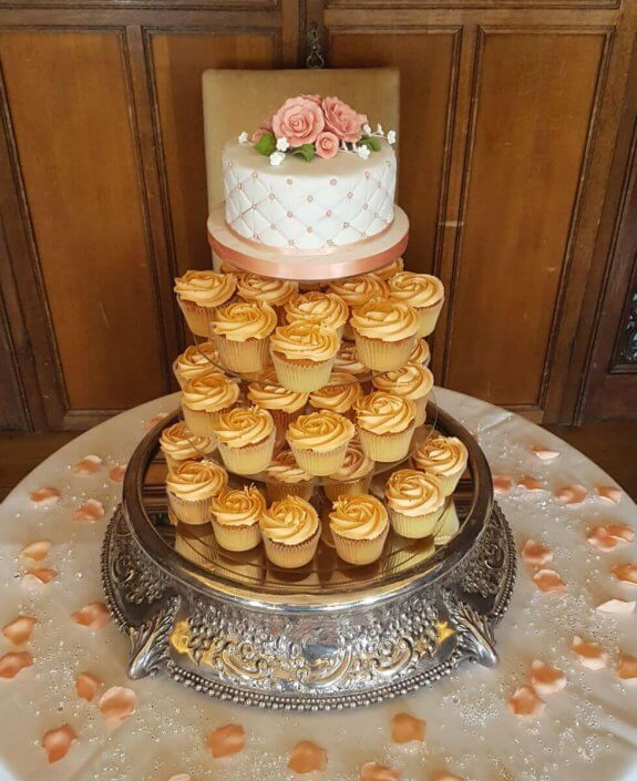 Peach wedding cupcakes - Quality Cake Company Tamworth Birmingham