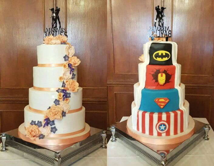 Marvel reveal four tier wedding cake surprise - Quality Cake Company Tamworth