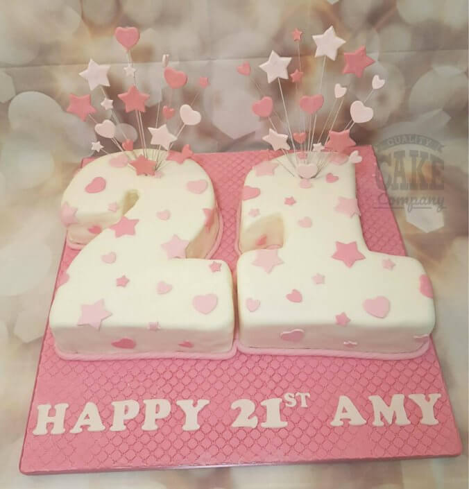 Pink & white star spray 21 shaped birthday cake - Tamworth