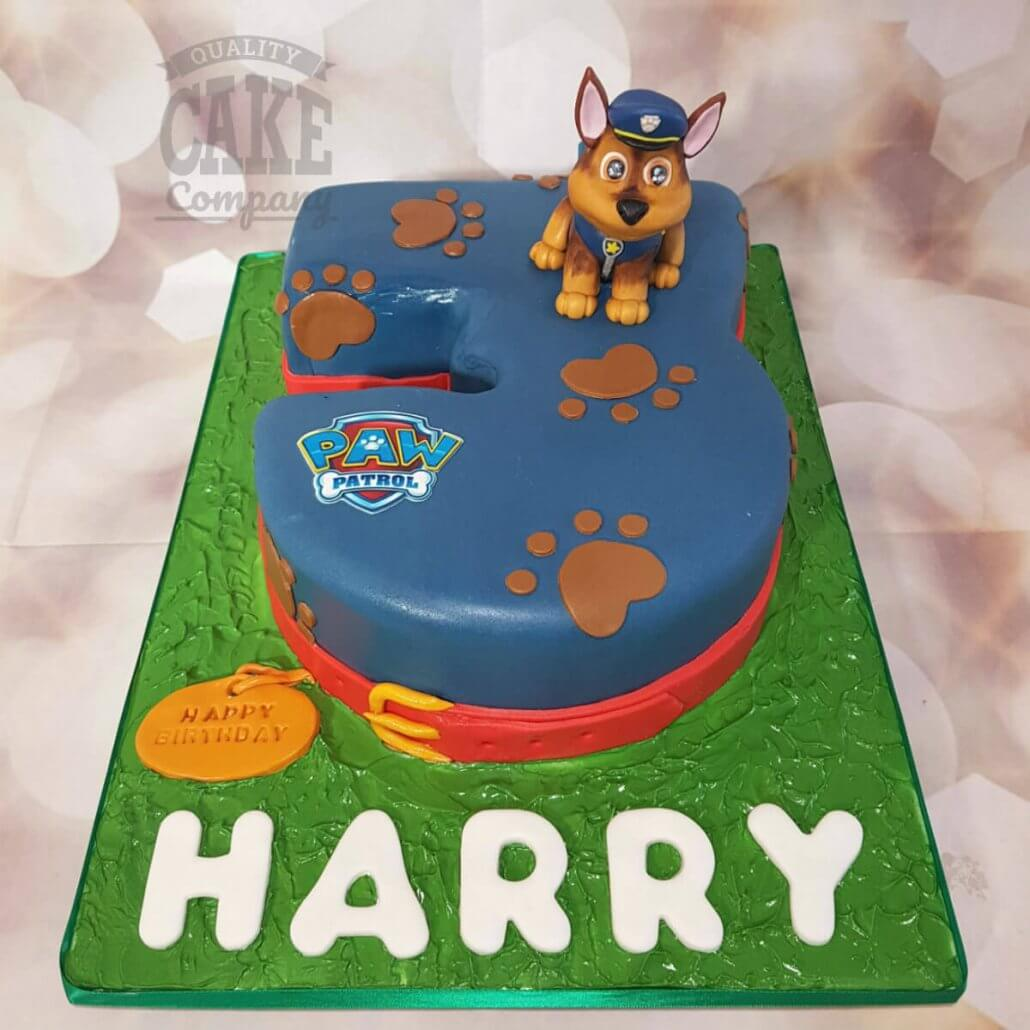 Paw Patrol Theme Number 3 Shape Track With Thomas On It Birthday Cake