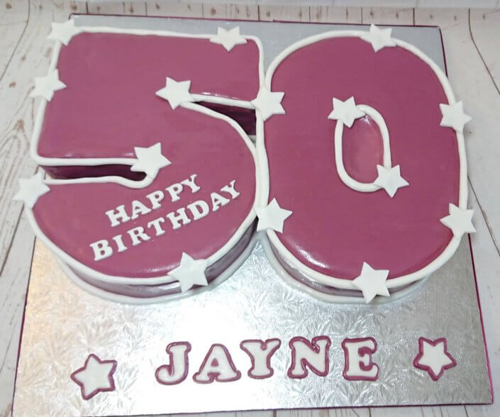 Burgundy and white stars 50 shaped number cake - Tamworth