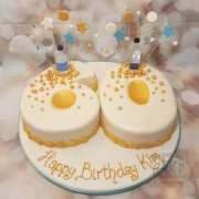 Gin & gold themes 60 shaped number cake - Tamworth