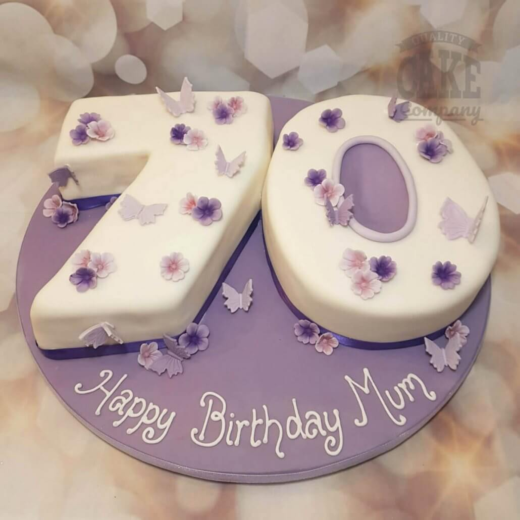 Lilac Butterflies 70 Shaped Birthday Cake