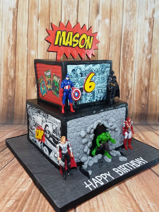 two tier square marvel theme cake