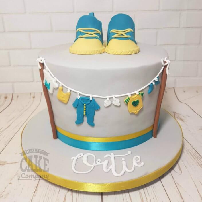 Teal and grey baby shower booties cake - Tamworth Sutton Coldfield