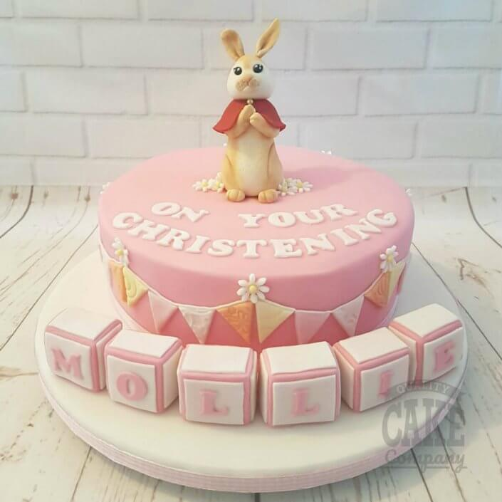 Bunny & blocks pink christening cake - Tamworth West Midlands