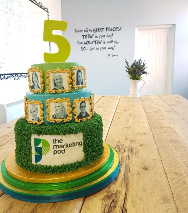 Marketing Pod 5th Anniversary celebration cake - Tamworth West Midlands