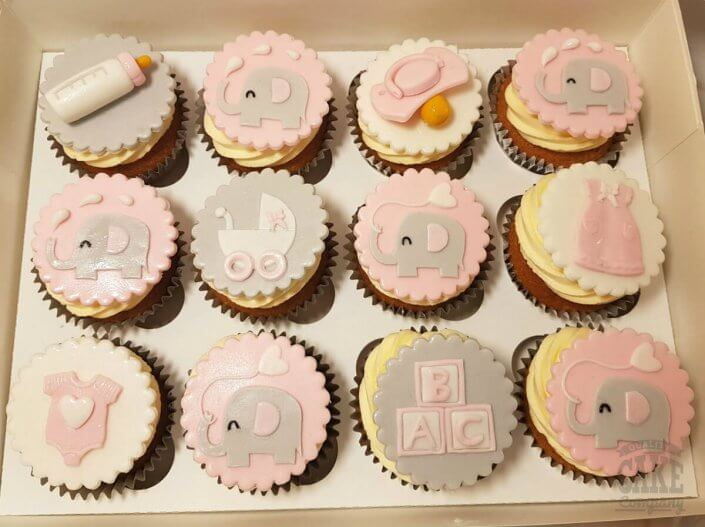 Soft pink elephants theme baby shower christening cupcakes - Tamworth Sutton Coldfield