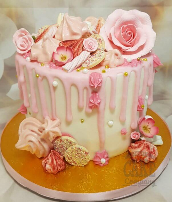 Pink flower sweetie drip cake - Tamworth