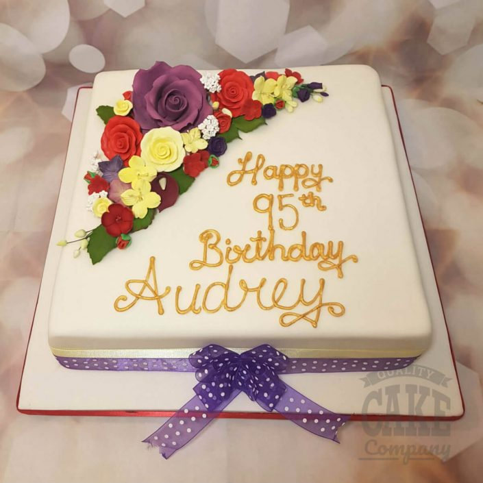Floral traditional birthday cake -