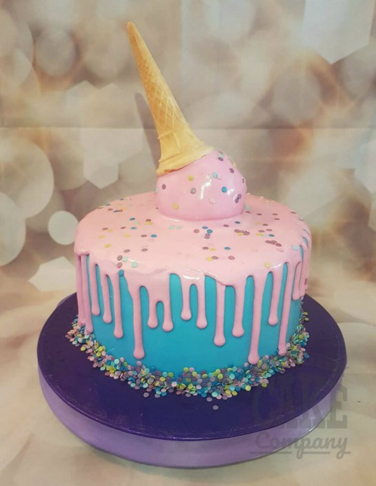 pink Ice cream drip cake - tamworth