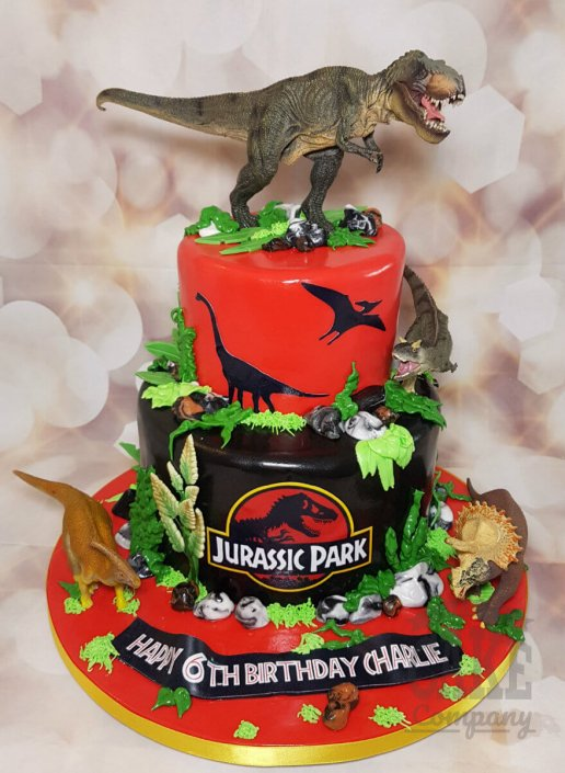 two tier Jurassic Park dinosaur theme birthday cake - tamworth