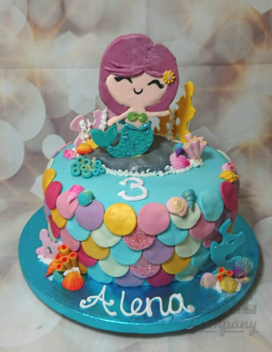 Mermaid scales under the sea theme cake - tamworth