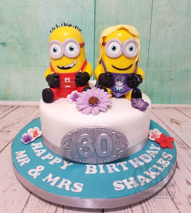 Minions figures couple joint birthday cake - tamworth