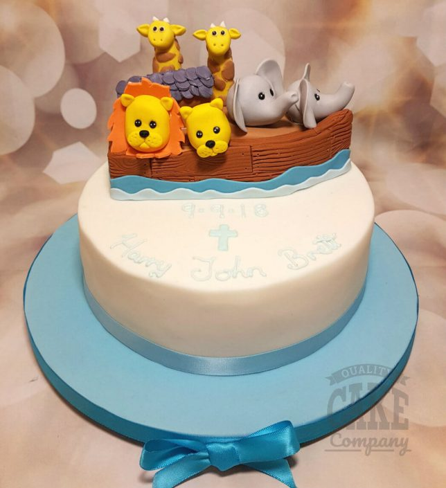 Noah's ark animal christening baptism cake - tamworth