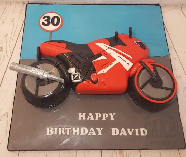 red motorbike sculpted cake - tamworth