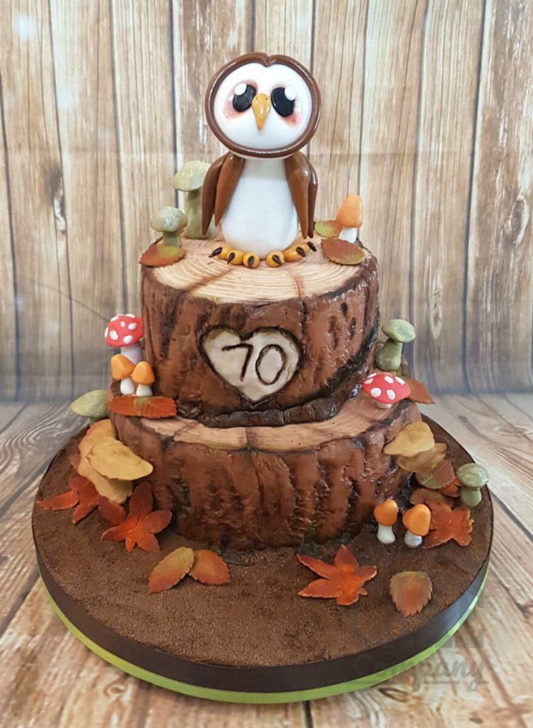 Two tier owl perched on tree woodland theme cake - tamworth