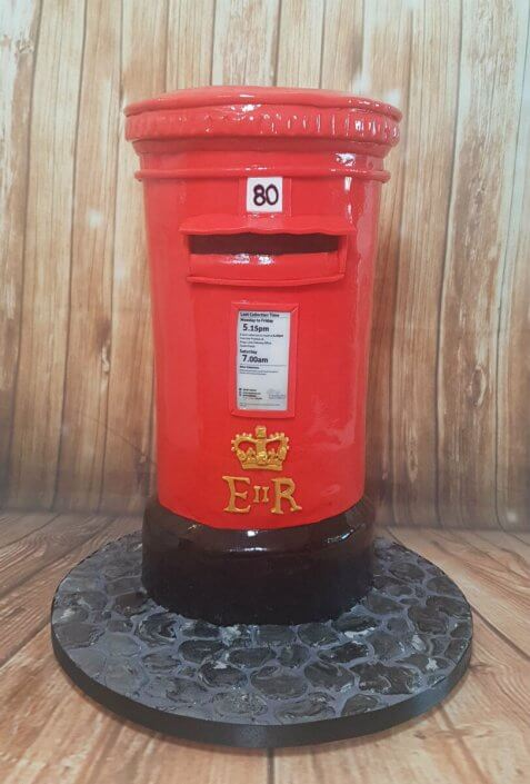 Royal Mail red post box cake