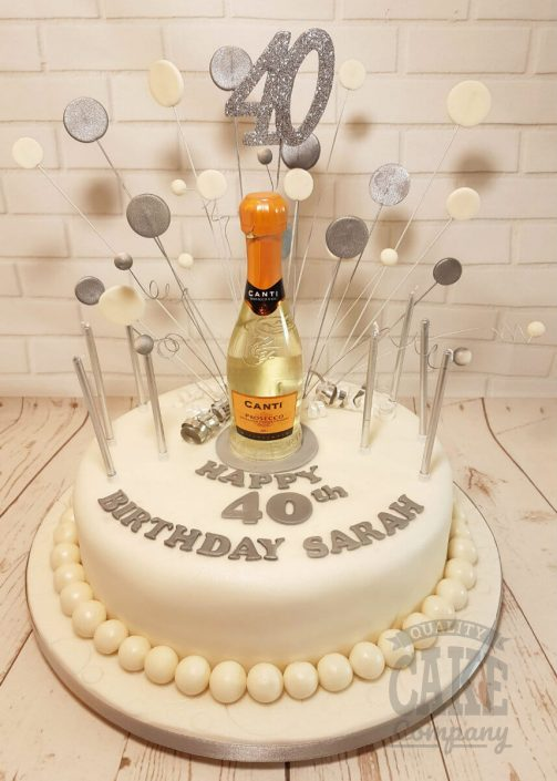 Prosecco bubbles theme cake - tamworth